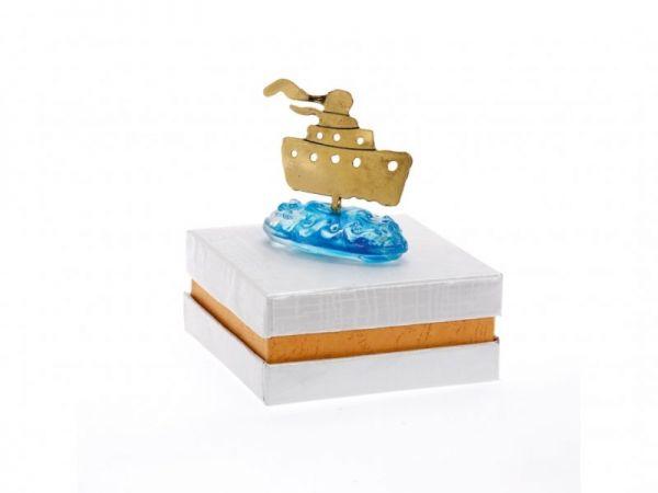 μπομπονιέρα Καράβι μπλε κύματα σε κουτί (7Χ6εκ).
