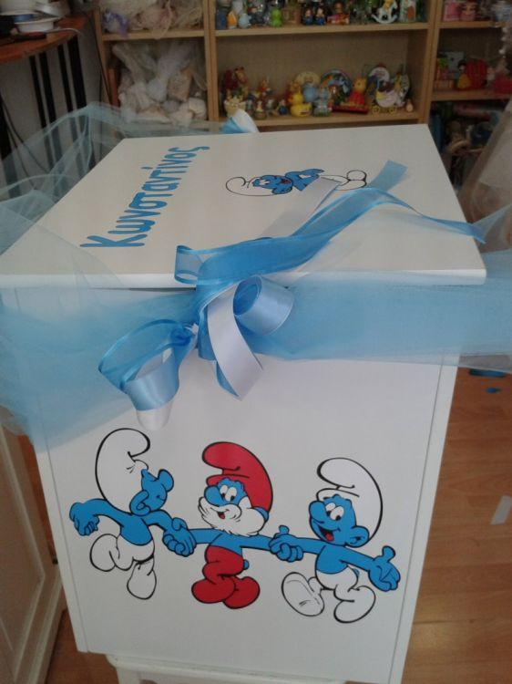 στρούμφ κουτί για οικονομικό πακέτο βάπτισης