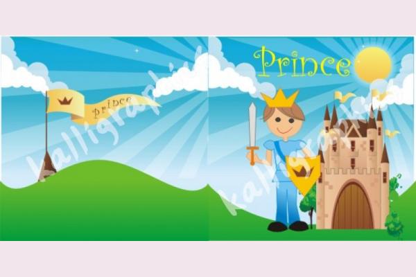 προσκλητήριο βάπτισης με θέμα πρίγκιπα με κάστρο