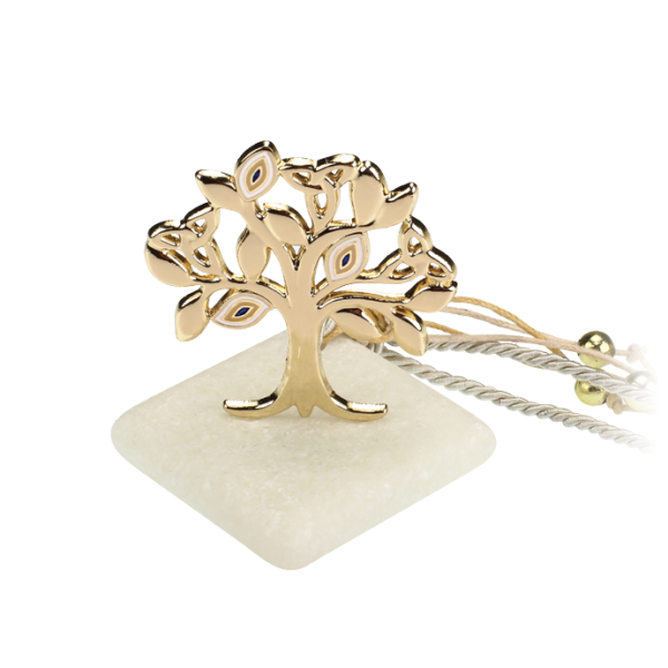 Μπομπονιέρα Γάμου-Βάπτισης Δέντρο με Ματάκια σε Πέτρα