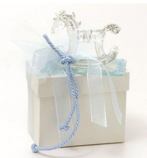 μπομπονιέρα βάπτισης αλογάκι γαλάζιο γυάλινο πολυτελείας με δικό του κουτί.