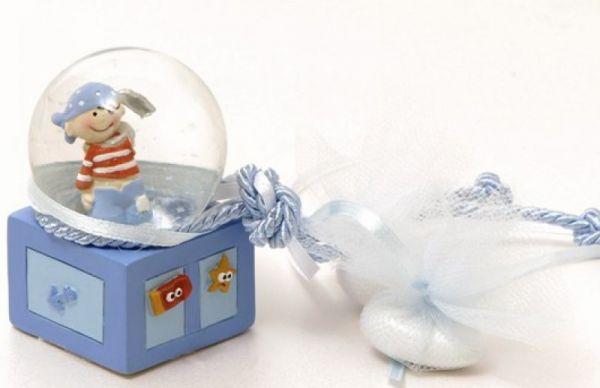 μπομπονιέρα γυάλα με πειρατή γαλάζιο χρώμα