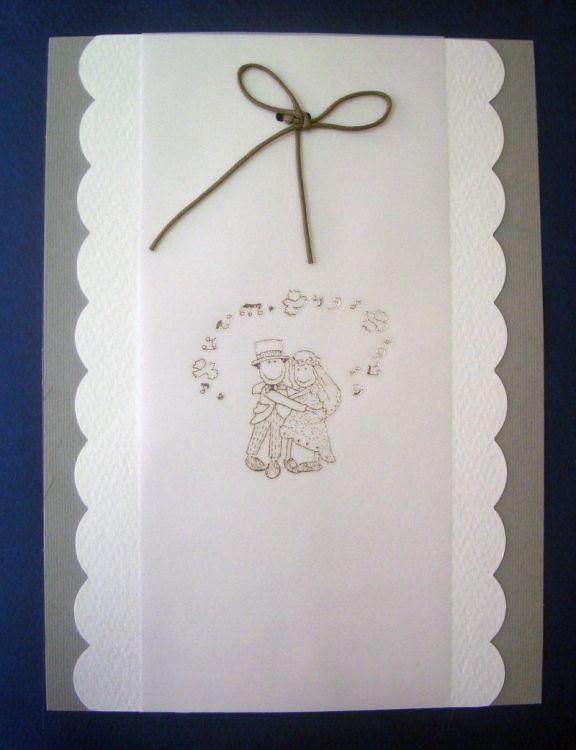 Προσκλητήριο γάμου με γραφικό νύφη και γαμπρός.