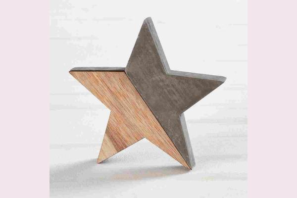 Διακοσμητικό Αστέρι Από Τσιμέντο Και Ξύλο.