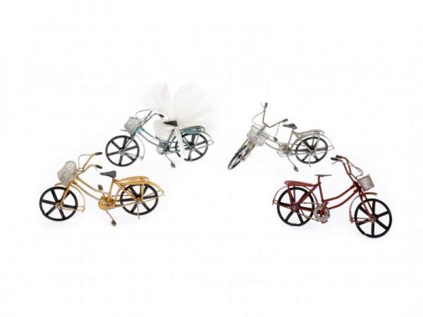 μπομπονιέρα Ποδήλατο με καλάθι 4 χρώματα μεταλλικές (10Χ18εκ)