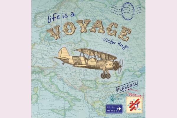 προσκλητήριο με θέμα αεροπλάνο και ταξίδια 4 σελ. ή 8 σελ.