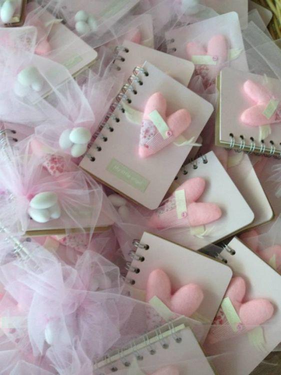 μπομπονιέρα σημειωματάριο καρδιά