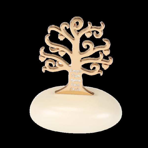 Μπομπονιέρα Γάμου Δέντρο της Ζωής με Ευχές σε Βότσαλο
