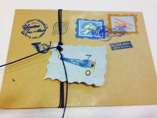 card postal με θέμα αεροπλάνο προσκλητήριο και μπομπονιέρες