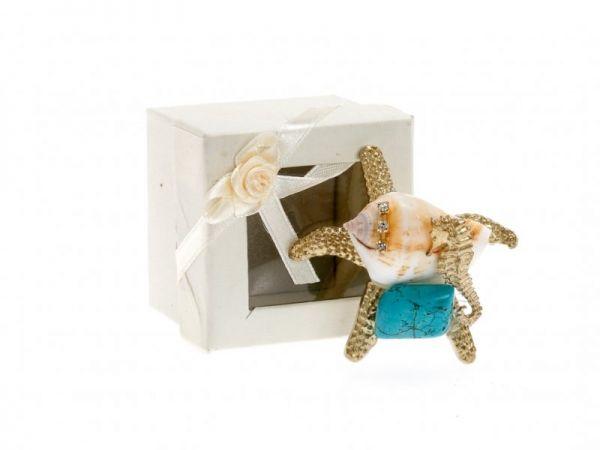 μπομπονιέρα Χρυσός αστερίας με τυρκουάζ ημιπολύτιμη σε κουτί (6Χ5εκ)