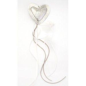 Μπομπονιέρα γάμου κρεμαστό ασημένια καρδιά