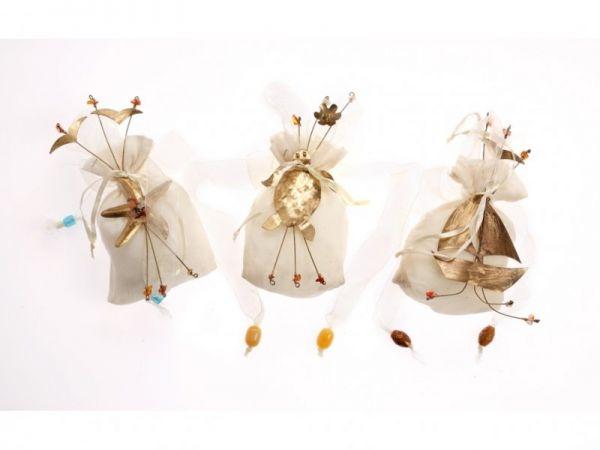 μπομπονιέρα πουγκί Αστερίας,Χελώνα ,Καράβι μπρούτζινος μπουκέτο (19Χ9εκ)