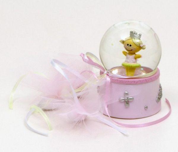υπέροχη μπομπονιέρα γυάλινη μπάλα με πριγκίπισσα