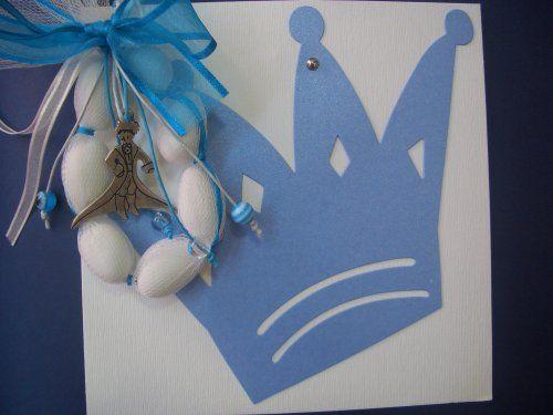 Προσκλητήριο βάπτισης κορώνα και μπομπονιέρα με μπρελόκ μικρός πρίγκιπας.
