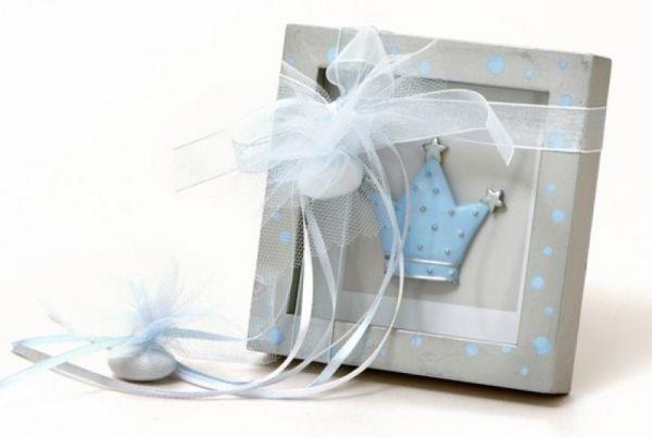 μπομπονιέρα βάπτισης καδράκι με κορώνα γαλάζιο