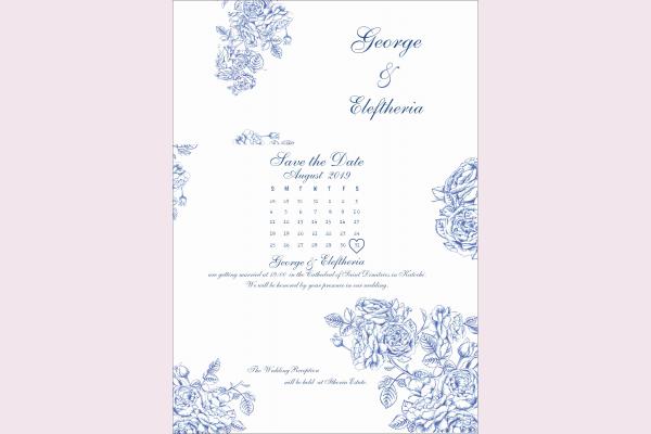 Προσκλητήριο γάμου με μπλέ καμέλιες
