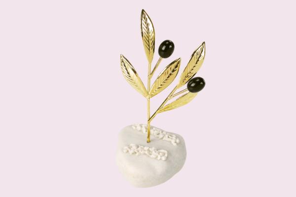 Μπομπονιέρα Γάμου Κλαδί Ελιάς Χρυσό σε Βότσαλο