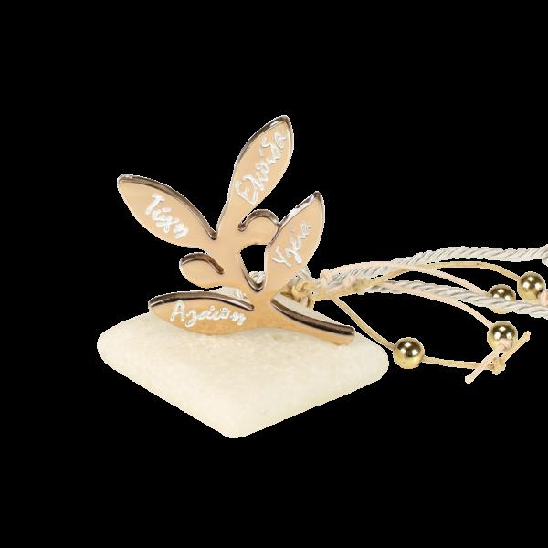 Μπομπονιέρα Γάμου Κλαδί Ελιάς με Ευχές σε Πέτρα
