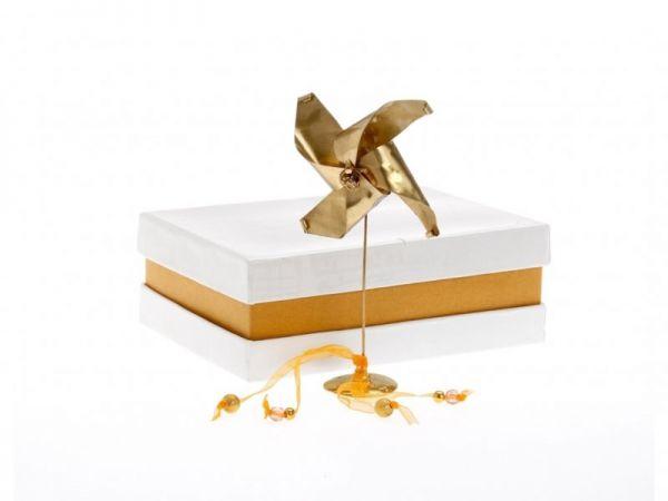μπομπονιέρα Ανεμόμυλος μπρούτζινος σε κουτί (Κ14Χ8εκ)