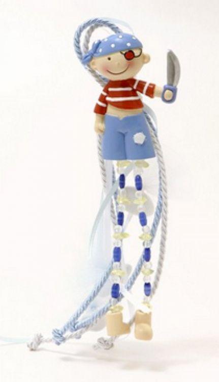 μπομπονιέρα μαγνήτης πειρατής με κρεμαστά κουφέτα και χάντρες