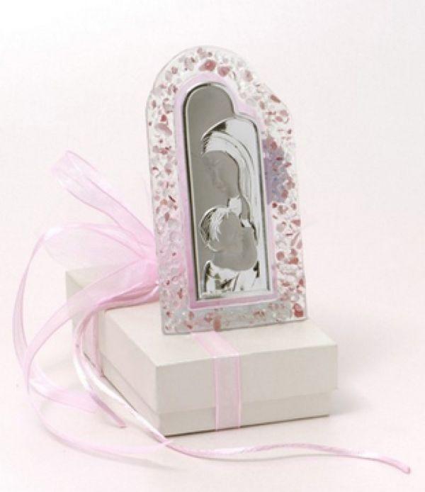 μπομπονιέρα εικόνα Παναγίας διακοσμητική από γυαλί με ροζ ή γαλάζιο