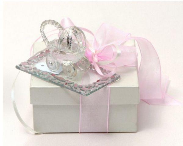 μπομπονιέρα βάπτισης με ρόζ γυάλινο καροτσάκι διακοσμητικό καλή ποιότητα πολυτελείας κουτί