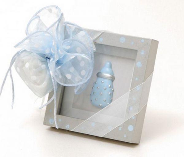 μπομπονιέρα βάπτισης για αγορί με ασημί κορνίζα και μπιμπερό γαλάζιο