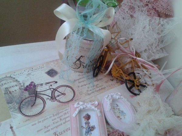 μπομπονιέρα τενεκεδάκι vintage θέμα ποδήλατο
